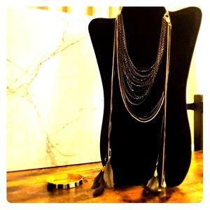 Gold/Black 2-in-1 Necklace & FREE Bracelet
